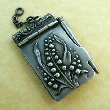 Antique French 800 Silver Lily of the Valley Aide Mémoire Chatelaine Pendant
