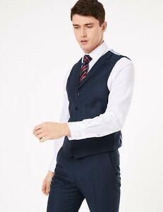 M & S Saville Row Inspired Luxury Navy Pure Wool Waistcoat 2XL Reg P NWT RRP £89