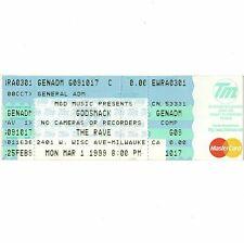 Godsmack & Grinspoon Full Concert Ticket Stub Milwaukee 3/1/99 The Rave Rare