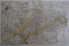 Victorian Mappa 1896 della GERMANIA-Il Regno di Sassonia il Times ATLAS 1st Gen