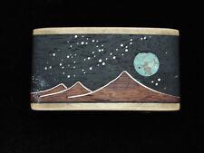 PL19164 VINTAGE 1970s KENNETH REID *MOON OVER MOUNTAIN* WOOD & TURQUOISE BUCKLE