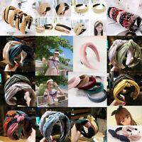Women Headband Twist Hairband Bow Knot Cross Tie Cloth Headwrap Hair Band Hoop