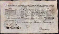 1886 WARWICK & WARWICKSHIRE BANK £5 BANKNOTE * 27004 * F * Outing 2279e *