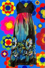155✪ Blumen Pop Art 60er 70er Jahre Boho Hippie Maxi Kleid dress blau Gr. 40
