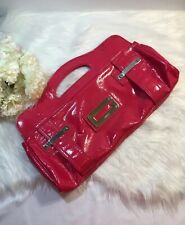 GUESS Women's Handbag Tote Clutch Purse Patent Leather Pink Color Silver Logo