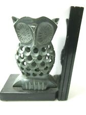 "Hand Carved Genuine Soap Stone Wise Owl Book End Gray Black 6"" x 2.5"" x 4 6/8"""