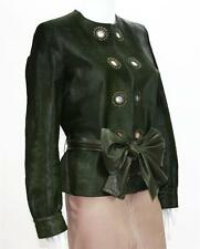 NEW Yves Saint Laurent Calf Hair Green Leather Jacket with Belt Fr.44  US 10/12