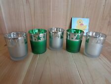 VOTIVE CUP Candle Holders Lot of 5 Frosted Silver Green Christmas Stars Trees