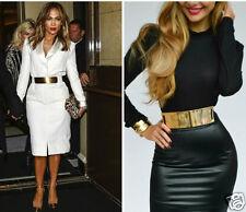 Women's Mirror Gold Metal Elasticity Waist Belt Metal Width 6cm For Dress