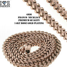 "MEN'S STAINLESS STEEL 14KT REAL ROSE  GOLD PLATING 6 MM  FRANCO NECKLACE 24"""
