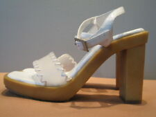 New Bakers White Patent Shoes Clear Sandals Pinup Mod Retro Buckle Straps 6