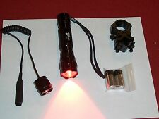 COYOTE HUNTING RED LED FLASHLIGHT PRESSURE SWITCH GUN MOUNT 210LM RIFLE TACTICAL