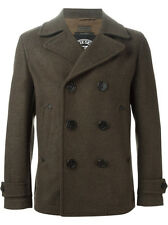 DIESEL W-SAMI OLIVE GREEN WOOL BLEND PEACOAT SIZE L 100% AUTHENTIC