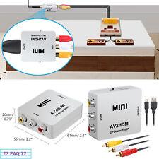 Mini Convertidor AV a HDMI Video/Audio RCA Compuesto CVBS Conversor + Cable Kit