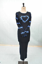BLACK BLUE BARBED WIRE HEART JERSEY LONG STRAP DRESS 10 12 STEAMPUNK ROCK JUMPER