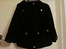 Short Black Cord / Corduroy 3/4 Sleeve M&S Per Una Jacket with Hood in Size 10