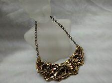 Statement mid century studio modernist brutalist brass copper wide  necklace