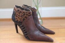 El Dantes Couture Women's Brown Cow Patched Ankle Booties Size 38/8 (bota1400b
