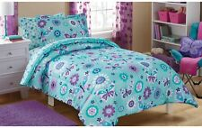 Mainstays Kids Butterfly Floral Bed in a Bag Bedding Set Twin Teal/Purple NEW