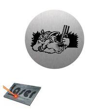 Plaque gravée autocollante 8cm Chasse Chien chasseur fond Alu brossé