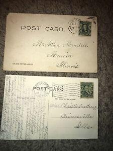 🔥Vintage One-Cent Ben Franklin Stamp 1902 Series Postcard Lot 1905 Chicago Used