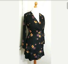 New Look 8 wrap tea dress crossover black floral soft comfortable floral