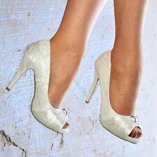 Damas Nupcial Tacón Alto Puntera Abierta Marfil Floral Encaje Tamaño de las bombas de Zapatos de Boda Tribunal
