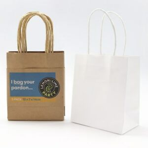 Bulk Small Kraft Craft Brown White Paper Party Carry Bags Handle Gift Bags 14CM