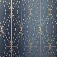 Diamond Triangle Geometric lines wallpaper navy blue bronze Metallic Textured 3D