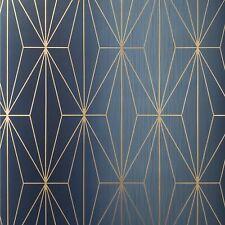 Diamond Triangle Geometric lines wallpaper navy blue bronze Metallic Textured 3D
