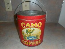 VINTAGE CAMO COFFEE 3 LB TIN CAN PAIL HEEKIN'S CO. CINCINNATI, OHIO RARE