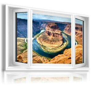 RIVER MOUNTAINS 3D Window View Canvas Wall Art W157 MATAGA UNFRAMED-ROLLED