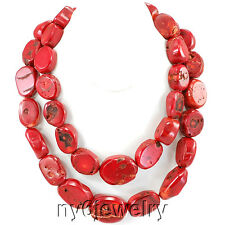 *Double strands Red Natural Sea Coral Huge Necklace 20-22''