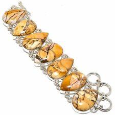 """Brecciated Mookaite Gemstone Handmade 925 Sterling Silver Bracelet 6-9"""""""