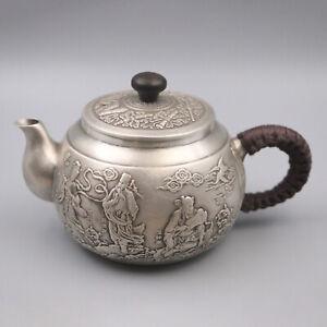 Pure S999 Sterling Silver Tea Set Eight Immortals Cross Sea Kettle Teapot / 201g