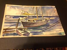 KANEOHE BAY HAWAII Watercolor Painting Boats Seascape Signed Fred Oman 1944
