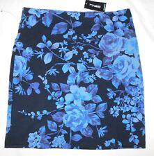 EXPRESS juniors/womens Stretch black blue floral print skirt size XS NWOT