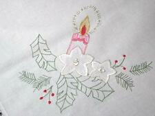 """A LOVELY PINK CHRISTMAS! VTG GERMAN TABLECLOTH 2 1/2"""" WIDE CROCHET LACE"""
