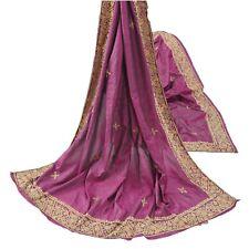 Sanskriti Vintage Purple Heavy Dupatta Pure Silk Hand Embroidery Antique Stole