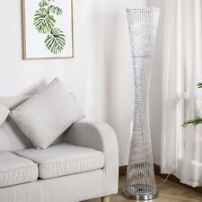 Auraglow Sparkling LED Floor Lamp with Modern Woven Twist Silver Spiral Stems
