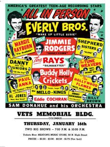 Fifties - Vets Memorial Bldg poster - Eddie Cochran - Buddy Holly (1958)