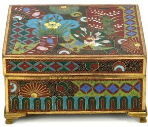 Extraordinary Meiji period Japanese Cloisonne Box 明治時代 掐絲琺瑯團花寶盒
