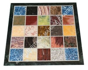 """24"""" Marble Side Coffee Cafe Table Top Multi Mosaic Inlay Housewarming Gift E917A"""