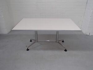 Office 6 Seat Meeting Table White Melamine Metal 36735