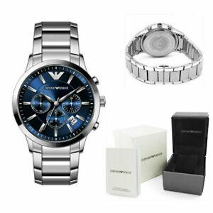 Emporio Armani Herren Armbanduhr AR2448 Renato Silber Blau Chrono Neu