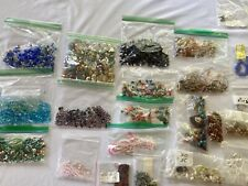 Large lot Of Loose Beads! Glass Crystals, Blue Agate, Red Tigereye, Stone & Wood