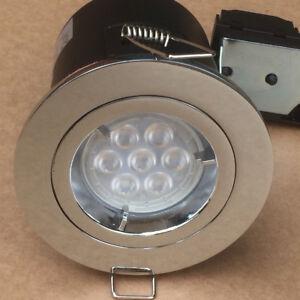 5 x Schneider GU10 7w Dimmerble LED Firerated Chrome Twist & Lock Downlight.
