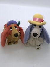 "Applause Hush Puppies Bassett Hound Bean Bag Dogs Purple Mom Orange Hat 5"" 6"""