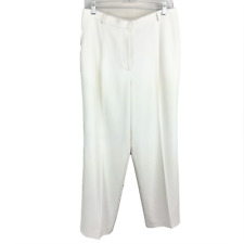 Jones New York Women 12 Pants Trousers Triacetate Blend Pockets Flat Front Ivory