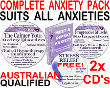 2x CD 's ANXIETY CLINICAL HYPNOTHERAPY PACK HYPNOSIS NLP + CBT eWORKBOOK & mp3 s